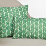 740 printed + embroidered leaf pillow