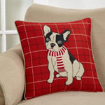 8860 plaid christmas french bull dog pillow