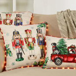 8996 red christmas truck pillow with led piping