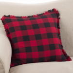 9026P fringed buffalo plaid pillow