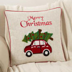 9031 holiday red car pillow
