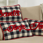 9046 buffalo plaid santa pillow
