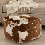 PU471 Faux Fur Cow Hide Pouf
