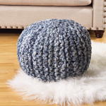 PU283 denim twisted rope pouf