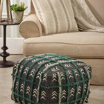 PU321 Embroidered Mudcloth Pouf