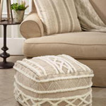 PU322 Printed and Embroidered Pouf