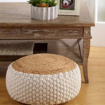 PU603 jute + cotton pouf