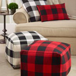 PU9025 buffalo plaid pouf