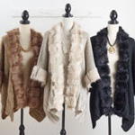 P831 faux fur trim poncho