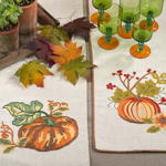 0836 embr'd pumpkin & flower runner
