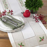 2237 embroidered holly hemstitch runner