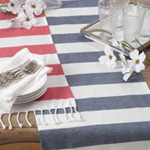 2616 striped tasseled runner
