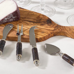 SP358 bark wood cheese cutlery
