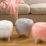 ST802 long hair faux fur stool