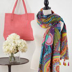 S170 printed swirl scarf