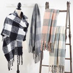 S267 buffalo plaid tassel scarf