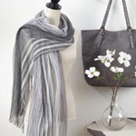 S828 striped fringe scarf