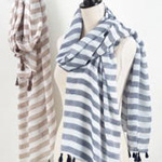 S829 striped + tassled scarf