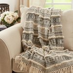 TH113 Block Print Embellished Throw