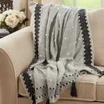 TH134 Banded Border Tassel Throw