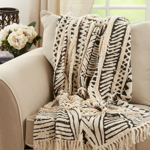 TH194 Block Print Embellished Throw