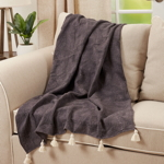 TH234 Leaf Embossed Tassel Throw