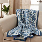 TH321 Block Print Floral Kantha Stitch Throw