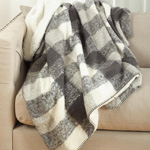 TH209 faux mohair design sherpa throw