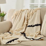 Th231 Fringe Embroidered Line Throw