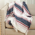 TH264 soft cotton striped throw