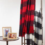 TH316 faux mohair buffalo plaid throw