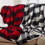 TH322 faux mohair buffalo plaid + sherpa throw