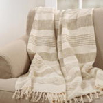 TH387 striped + tasseled throw