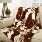 TH471 Faux Fur Cow Hide Throw