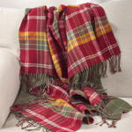 TH806 plaid tasseled throw