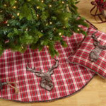 1026 plaid faux fur reindeer tree skirt