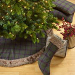 1890 tartan plaid stocking w/ faux fur