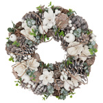 WR964 Pinecone And White Berry Wreath