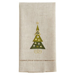 XM755 Embroidered and Hemstitched Christmas Tree Guest Towel