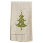 XM756 Embroidered and Hemstitched Christmas Tree Guest Towel