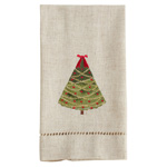 XM757 Embroidered and Hemstitched Christmas Tree Guest Towel