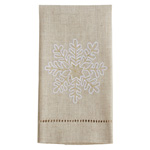 XM758 Embroidered and Hemstitched Snowflake Guest Towel