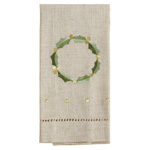 XM760 Embroidered and Hemstitched Wreath Guest Towel