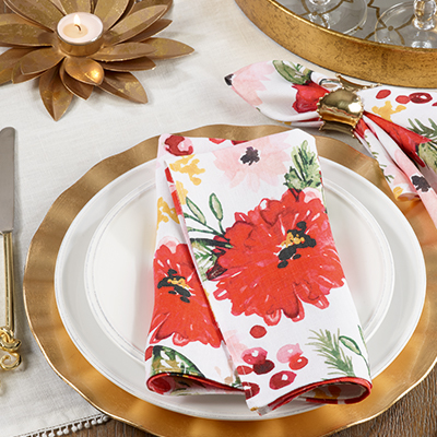 418 holiday floral napkin